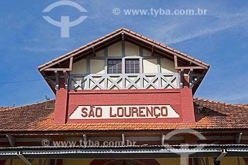 Detalhe da fachada da Estação Ferroviária de São Lourenço  - São Lourenço - Minas Gerais (MG) - Brasil