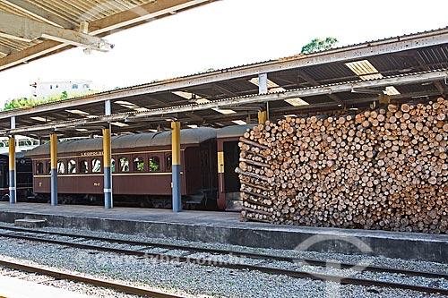 Estoque de lenha usada na locomotiva - Estação Ferroviária de São Lourenço  - São Lourenço - Minas Gerais (MG) - Brasil