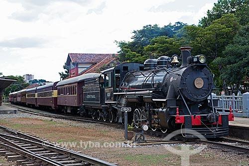 Locomotiva The Baldwin Locomotive Works 1424, USA 59712 (1927) - que faz o passeio turístico entre as cidades de São Lourenço e Soledade de Minas - na Estação Ferroviária de São Lourenço  - São Lourenço - Minas Gerais (MG) - Brasil