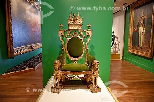 Trono de Dom Pedro II no Supremo Tribunal de Justiça Militar - parte da exposição permanente A Construção da Nação - no Museu Histórico Nacional  - Rio de Janeiro - Rio de Janeiro (RJ) - Brasil