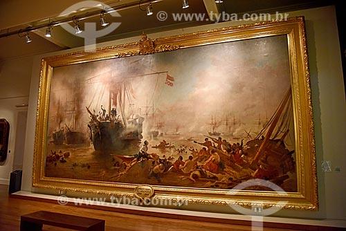 Quadro Combate Naval do Riachuelo (século XIX) - parte da exposição permanente A Construção da Nação - no Museu Histórico Nacional  - Rio de Janeiro - Rio de Janeiro (RJ) - Brasil