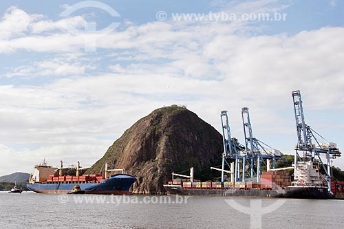 Navio cargueiro Cândido Rondon no Porto de Vitória com o Monumento Natural Municipal Morro do Penedo ao fundo  - Vila Velha - Espírito Santo (ES) - Brasil