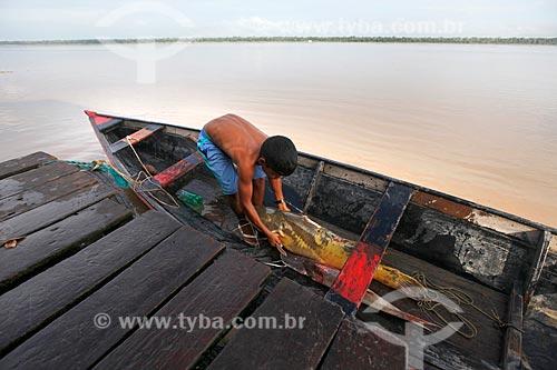 Menino descarregando peixes de canoa na Comunidade Ribeirinha São Francisco do Aiucá  - Uarini - Amazonas (AM) - Brasil