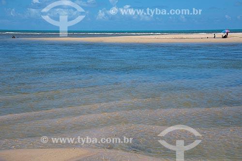 Vista de banco de areia na Praia da Barra do Abiaí  - Pitimbu - Paraíba (PB) - Brasil