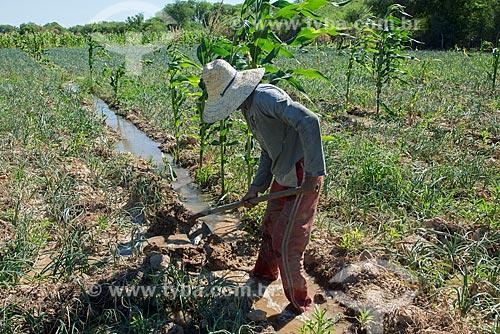 Trabalhador rural fazendo canal de irrigação para plantação de cebola na zona rural da Tribo Truká  - Cabrobó - Pernambuco (PE) - Brasil