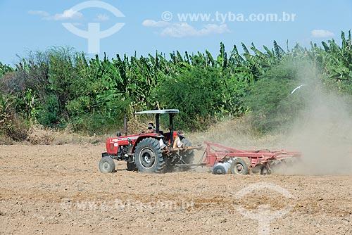Trator arando o solo para o plantio de cebola na zona rural da Tribo Truká  - Cabrobó - Pernambuco (PE) - Brasil