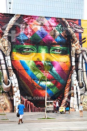 Detalhe do Mural Etnias na Orla Prefeito Luiz Paulo Conde (2016)  - Rio de Janeiro - Rio de Janeiro (RJ) - Brasil