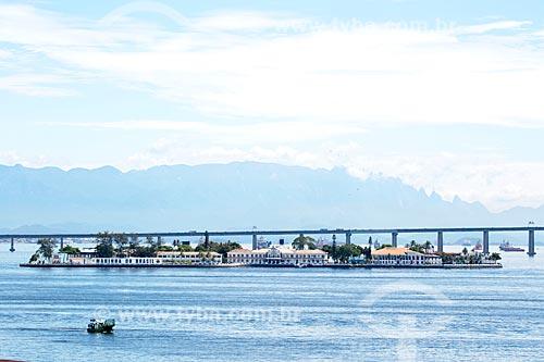 Vista da Ilha das Enxadas - atual sede do Centro de Instrução Almirante Wandenkolk (CIAW) - à partir da Orla Prefeito Luiz Paulo Conde  - Rio de Janeiro - Rio de Janeiro (RJ) - Brasil