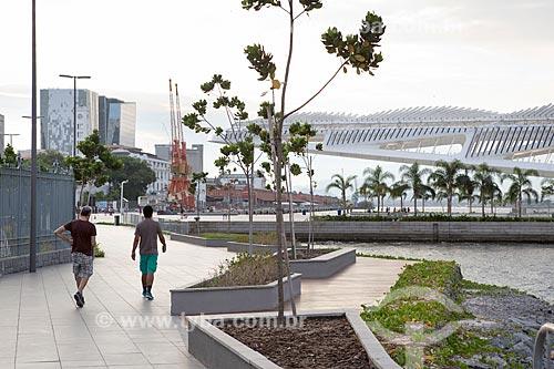 Pessoas caminhando na Orla Prefeito Luiz Paulo Conde com o Museu do Amanhã ao fundo  - Rio de Janeiro - Rio de Janeiro (RJ) - Brasil