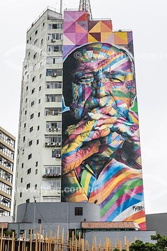 Mural em homenagem à Oscar Niemeyer em prédio da Avenida Paulista  - São Paulo - São Paulo (SP) - Brasil