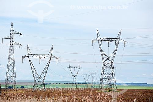 Vista de torres de transmissão em meio à plantação de soja a partir da Rodovia BR-163  - Rondonópolis - Mato Grosso (MT) - Brasil