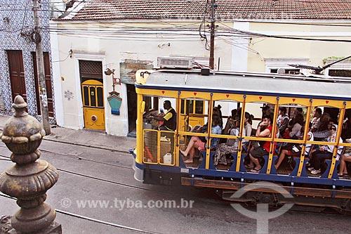 Bonde de Santa Teresa na Rua Almirante Alexandrino  - Rio de Janeiro - Rio de Janeiro (RJ) - Brasil