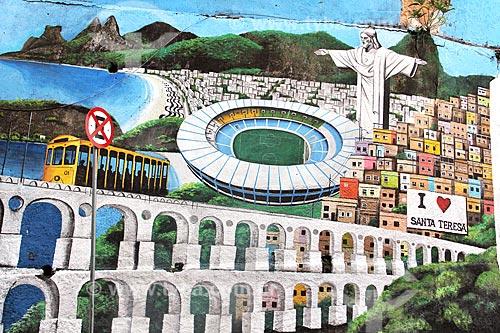 Muro com grafite de cartões postais do Rio de Janeiro na Rua Almirante Alexandrino  - Rio de Janeiro - Rio de Janeiro (RJ) - Brasil