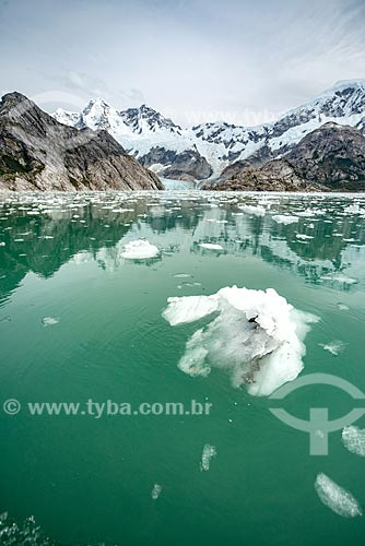 Pedaços quebrados de geleira na Patagônia próximo ao Fiorde Perry  - Província Terra do Fogo - Chile