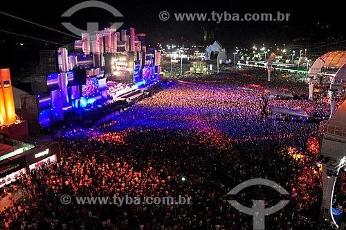 Vista geral do público e do Palco Mundo durante o Rock in Rio  - Rio de Janeiro - Rio de Janeiro (RJ) - Brasil