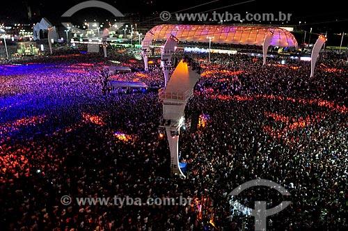 Vista geral do público e tirolesa durante o Rock in Rio  - Rio de Janeiro - Rio de Janeiro (RJ) - Brasil