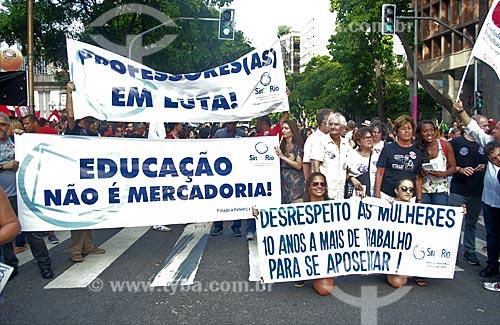 Manifestação contra a reforma da previdência proposta pelo governo de Michel Temer  - Rio de Janeiro - Rio de Janeiro (RJ) - Brasil