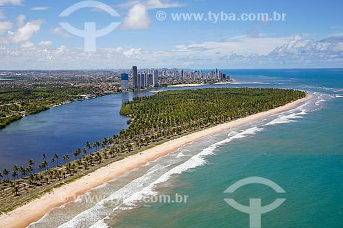 Foto aérea da Ilha do Amor na foz do Rio Pirapama  - Cabo de Santo Agostinho - Pernambuco (PE) - Brasil