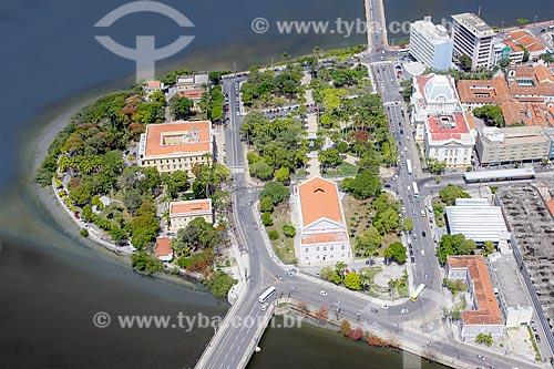 Foto aérea da Praça da República com o Palácio do Campo das Princesas (1841) - sede do Governo do Estado  - Recife - Pernambuco (PE) - Brasil