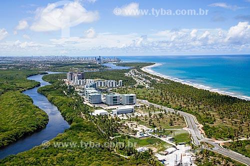 Foto aérea de prédios na Reserva do Paiva  - Cabo de Santo Agostinho - Pernambuco (PE) - Brasil