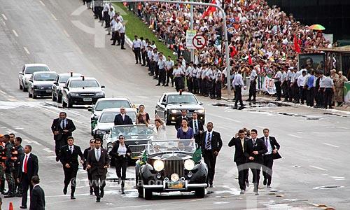 Desfile em carro aberto durante a cerimônia de posse de Dilma Rousseff  - Brasília - Distrito Federal (DF) - Brasil