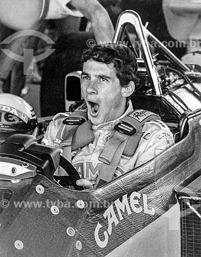 Detalhe de Ayrton Senna - piloto de Fórmula 1 - no Autódromo Internacional Nelson Piquet (Autódromo de Jacarepaguá) - durante a última corrida de Fórmula 1  - Rio de Janeiro - Rio de Janeiro (RJ) - Brasil