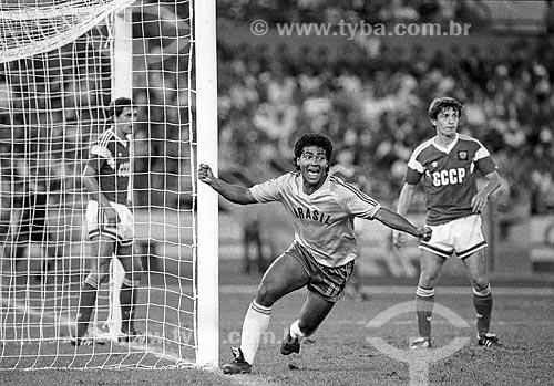 Romário comemorando gol na partida entre Brasil x União Soviética - Jogos Olímpicos - Seul 1988  - Seul - Cidade Especial de Seul - República da Coreia