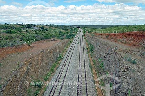 Vista de trecho da Ferrovia Nova Transnordestina  - Salgueiro - Pernambuco (PE) - Brasil
