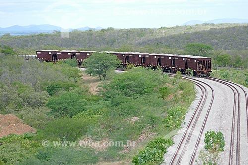 Vista de trem em trecho da Ferrovia Nova Transnordestina  - Salgueiro - Pernambuco (PE) - Brasil