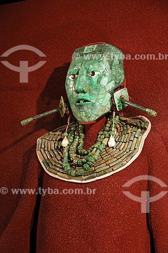 Detalhe da Máscara de Pakal - parte da coleção Maya do Museo Nacional de Antropología (Museu Nacional de Antropologia do México)  - Cidade do México - Distrito Federal - México