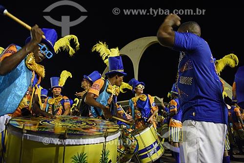 Bateria no Sambódromo da Marquês de Sapucaí durante o ensaio técnico para o desfile do Grêmio Recreativo Escola de Samba Paraíso do Tuiuti  - Rio de Janeiro - Rio de Janeiro (RJ) - Brasil