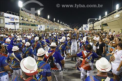 Bateria no Sambódromo da Marquês de Sapucaí durante o ensaio técnico para o desfile do Grêmio Recreativo Escola de Samba União da Ilha do Governador  - Rio de Janeiro - Rio de Janeiro (RJ) - Brasil