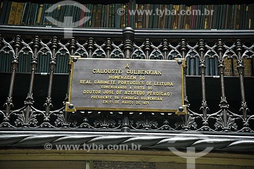 Placa em homenagem à Calouste Culbenkian no Real Gabinete Português de Leitura (1887)  - Rio de Janeiro - Rio de Janeiro (RJ) - Brasil
