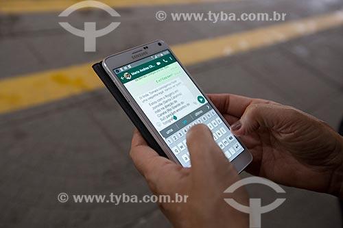 Detalhe do aplicativo WhatsApp em execução  - Joinville - Santa Catarina (SC) - Brasil