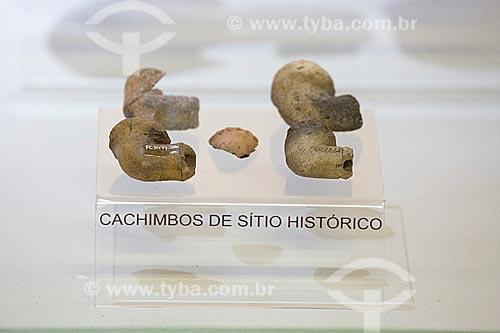 Cachimbos de sítio arqueológico em exibição no Museu Arqueológico de Sambaqui de Joinville  - Joinville - Santa Catarina (SC) - Brasil