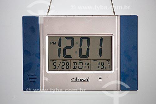 Relógio digital em exibição na Estação Museu da Memória - antiga Estação Ferroviária de Joinville  - Joinville - Santa Catarina (SC) - Brasil