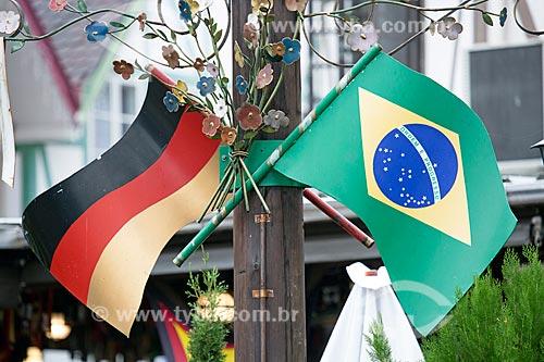 Detalhe de bandeiras do Brasil e Alemanha  - Blumenau - Santa Catarina (SC) - Brasil