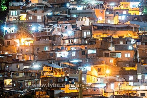 Vista da Favela do Cerro Corá à noite  - Rio de Janeiro - Rio de Janeiro (RJ) - Brasil
