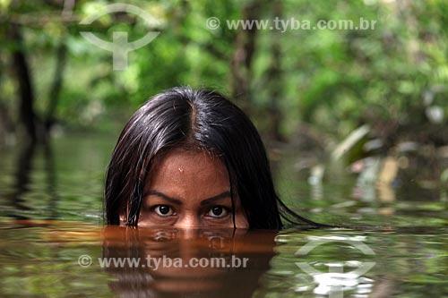 Detalhe de índia da Tribo Ticuna  - Manacapuru - Amazonas (AM) - Brasil