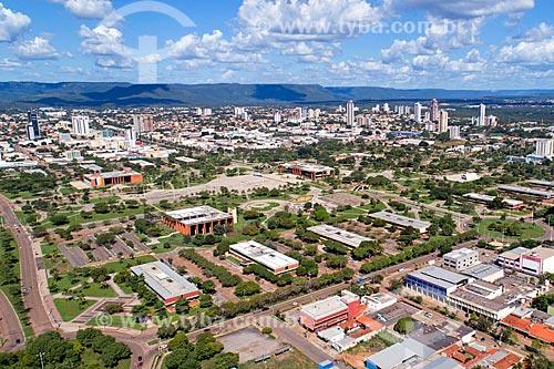 Foto aérea da cidade de Palmas com a Reserva Biológica Serra do Lajeado ao fundo  - Palmas - Tocantins (TO) - Brasil