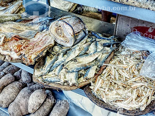 Detalhe de alimentos em conserva à venda no Centro Luiz Gonzaga de Tradições Nordestinas  - Rio de Janeiro - Rio de Janeiro (RJ) - Brasil