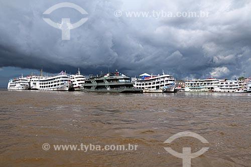 Barcos ancorados no Porto de Parintins  - Parintins - Amazonas (AM) - Brasil