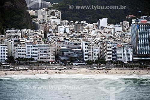 Foto aérea de prédios na orla da Praia de Copacabana com o Museu da Imagem e do Som do Rio de Janeiro (MIS)  - Rio de Janeiro - Rio de Janeiro (RJ) - Brasil