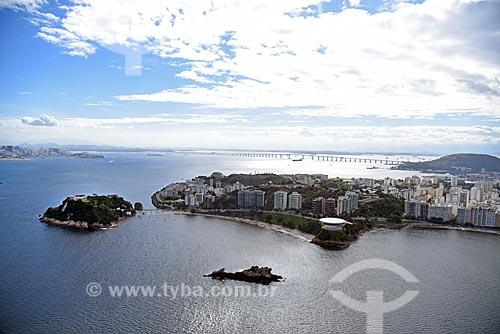 Foto aérea do Museu de Arte Contemporânea de Niterói (1996) - parte do Caminho Niemeyer  - Niterói - Rio de Janeiro (RJ) - Brasil