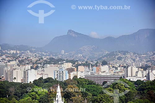 Vista de cima do Campo de Santana com o Cristo Redentor ao fundo  - Rio de Janeiro - Rio de Janeiro (RJ) - Brasil