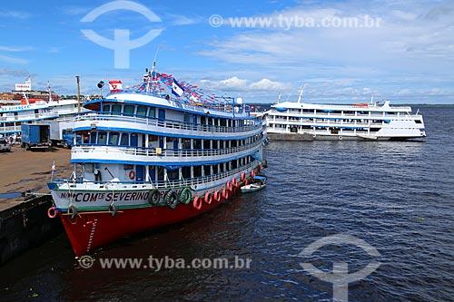 Chalanas - embarcação regional - atracadas no Porto de Manaus às margens do Rio Negro  - Manaus - Amazonas (AM) - Brasil