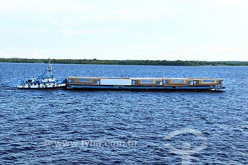 Vista de balsa no Rio Negro próximo à Manaus  - Manaus - Amazonas (AM) - Brasil