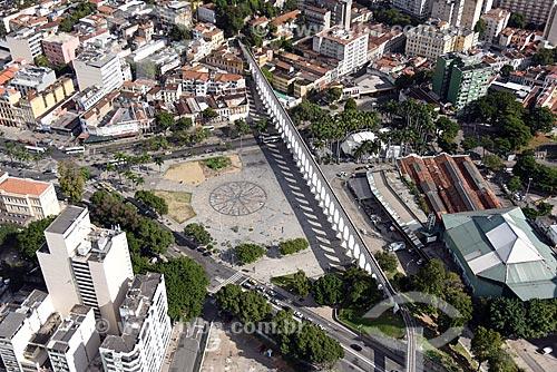 Foto aérea dos Arcos da Lapa, Circo Voador e da Fundição Progresso  - Rio de Janeiro - Rio de Janeiro (RJ) - Brasil