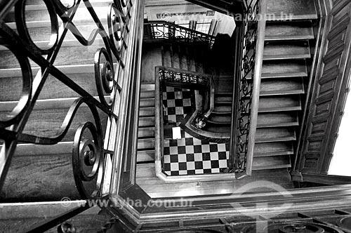 Detalhe na escada do Centro Cultural Municipal Oduvaldo Vianna Filho (1918) - mais conhecido como Castelinho do Flamengo  - Rio de Janeiro - Rio de Janeiro (RJ) - Brasil