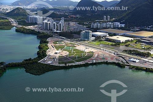 Foto aérea da Cidade do Rock com o Riocentro ao fundo  - Rio de Janeiro - Rio de Janeiro (RJ) - Brasil